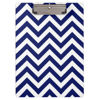 Navy Blue and White Large Chevron ZigZag Pattern Clipboard