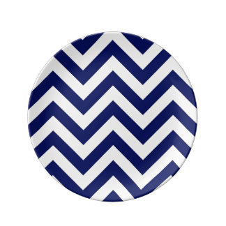 Navy Blue and White Large Chevron ZigZag Pattern Dinner Plate