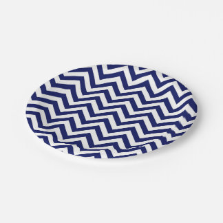 Navy Blue and White Large Chevron ZigZag Pattern Paper Plate