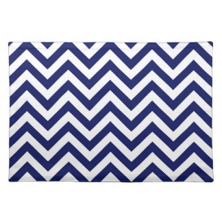 Navy Blue and White Large Chevron ZigZag Pattern Cloth Place Mat