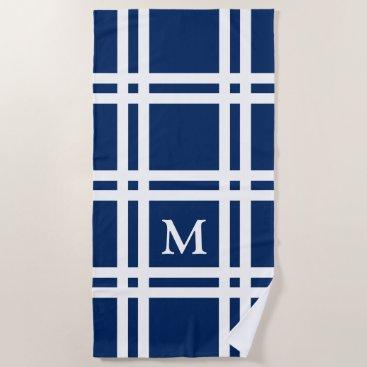 Beach Themed Navy Blue and White Lattice Monogram Beach Towel