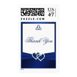 Navy Blue and White Love Knot Thank You Postage