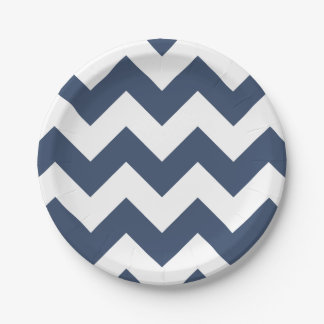 Navy Blue and White Modern Chevron Paper Plate