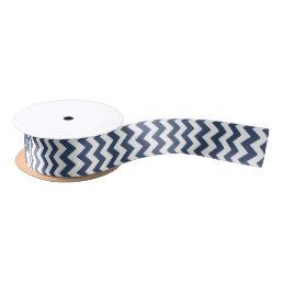 Navy Blue and White Modern Chevron Satin Ribbon
