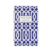 Navy Blue and White Modern Trellis Pattern Large Moleskine Notebook