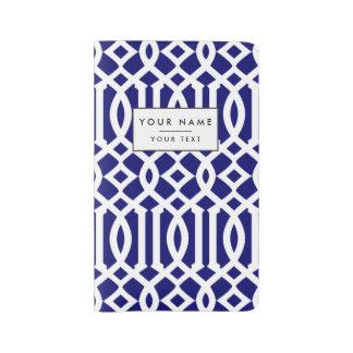 Navy Blue and White Modern Trellis Pattern Large Moleskine Notebook