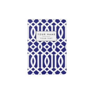 Navy Blue and White Modern Trellis Pattern Passport Holder