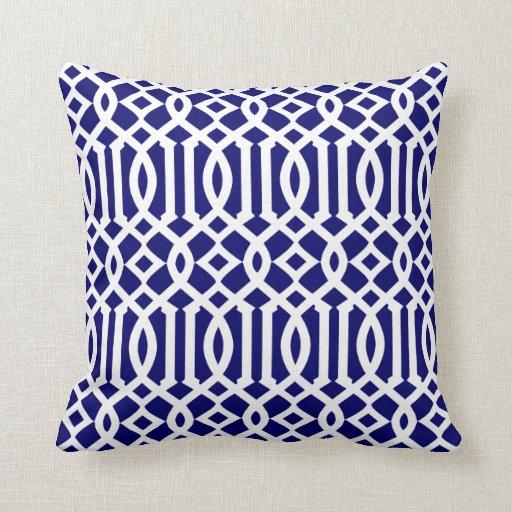 Navy Blue and White Modern Trellis Pattern Throw Pillow Zazzle