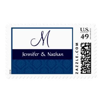 NAVY BLUE and WHITE Monogram Damask Wedding Postage Stamp
