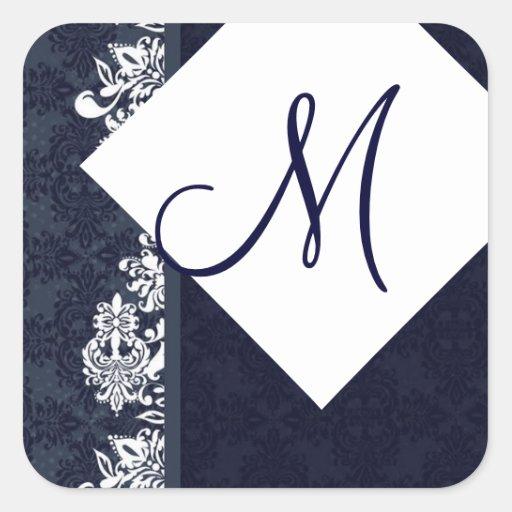 Navy Blue and White Monogram M Wedding G366 Square Sticker