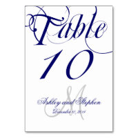 Navy Blue and White Monogram Wedding Card