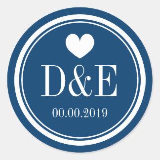Navy blue and white monogram wedding favor sticker