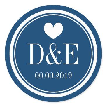 Valentines Themed Navy blue and white monogram wedding favor sticker