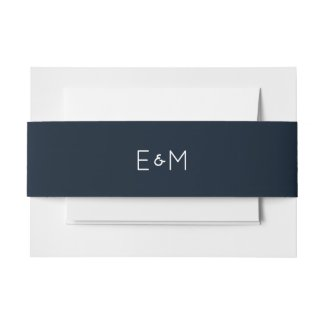Navy Blue and white Monogrammed Wedding Invitation Belly Band