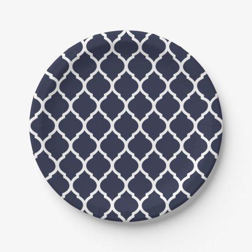 navy blue and white moroccan quatrefoil paper plate zazzle. Black Bedroom Furniture Sets. Home Design Ideas