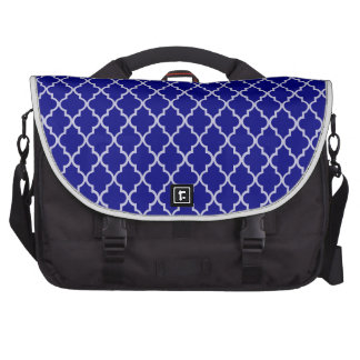 Navy Blue And White Moroccan Trellis Pattern Computer Bag
