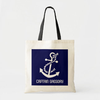 Navy Blue And White Nautical Anchor Budget Tote Bag