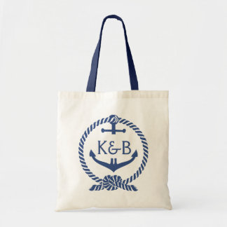 Navy Blue And White Nautical Boat Anchor 2 Budget Tote Bag