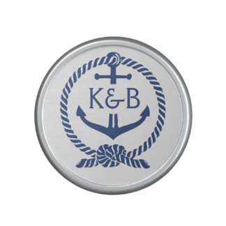 Navy Blue And White Nautical Boat Anchor Bluetooth Speaker