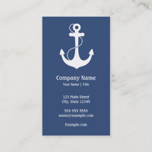 Navy blue business cards zazzle navy blue and white nautical business card colourmoves