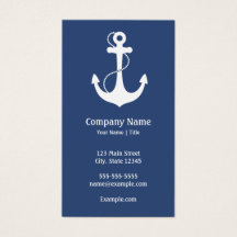 Navy Blue and White Nautical Business Card