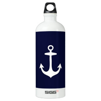 Navy Blue and White Nautical Inspired Aluminum Water Bottle