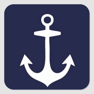 Navy Blue and White Nautical Inspired Square Sticker