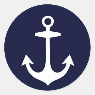 Navy Blue and White Nautical Inspired Classic Round Sticker