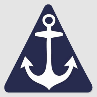 Navy Blue and White Nautical Inspired Triangle Sticker