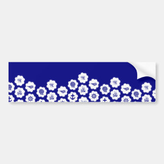 Navy Blue and White Nautical Pattern Bumper Sticker