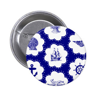 Navy Blue and White Nautical Pattern 2 Inch Round Button