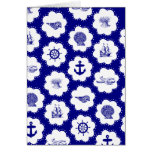 Navy Blue and White Nautical Pattern Cards