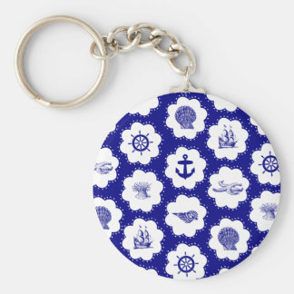 Navy Blue and White Nautical Pattern Keychain