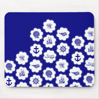 Navy Blue and White Nautical Pattern Mouse Pad