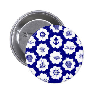 Navy Blue and White Nautical Pattern Pinback Button