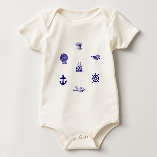 Navy Blue and White Nautical Pattern Romper