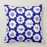 Navy Blue and White Nautical Pillow