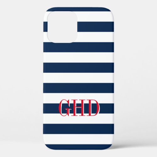 Navy blue and white nautical stripes custom name iPhone 12 case