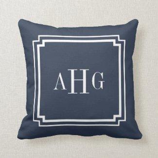 Navy Blue and White Notched Corner Custom Monogram Throw Pillow