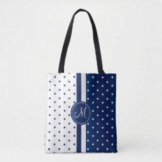 Navy Blue and White Polka Dot Design Tote Bag