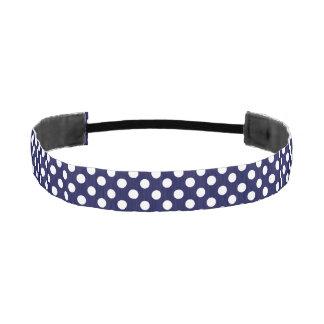 Navy Blue and White Polka Dot Head Band Athletic Headbands