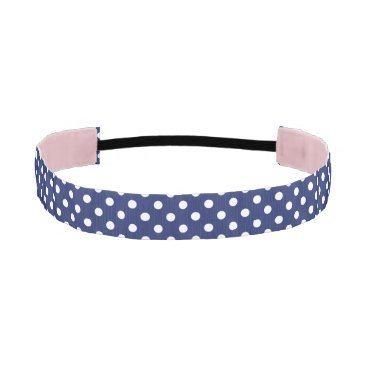 Beach Themed Navy Blue and White Polka Dot Pattern Athletic Headband