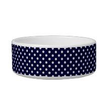 Navy Blue and White Polka Dot Pattern Bowl