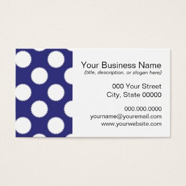 Beach Themed Navy Blue and White Polka Dot Pattern Business Card