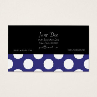 Navy Blue and White Polka Dot Pattern Business Card