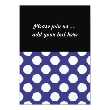 Beach Themed Navy Blue and White Polka Dot Pattern Card