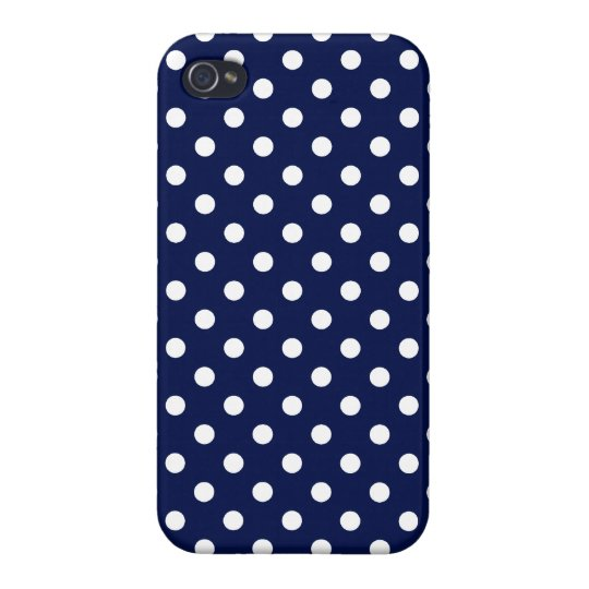 Navy Blue and White Polka Dot Pattern Cases For iPhone 4