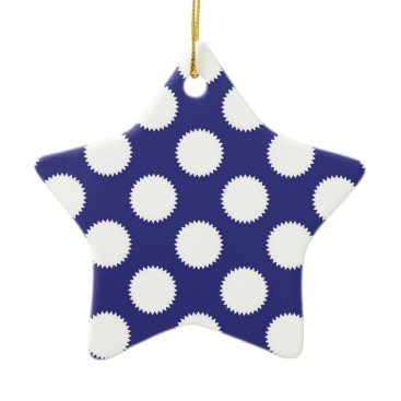 Beach Themed Navy Blue and White Polka Dot Pattern Ceramic Ornament