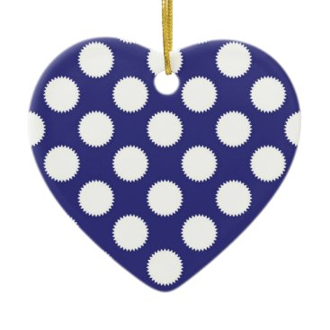 Beach Themed Navy Blue and White Polka Dot Pattern Ceramic Ornament