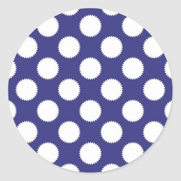 Beach Themed Navy Blue and White Polka Dot Pattern Classic Round Sticker